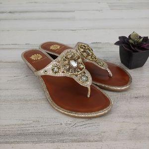 Yellow Box Gold Bling Sandals Thong Flip Flops